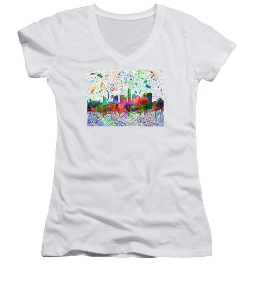 Austin Texas Abstract Panorama 7 Women's V-Neck T-Shirt (Junior Cut) by Bekim Art