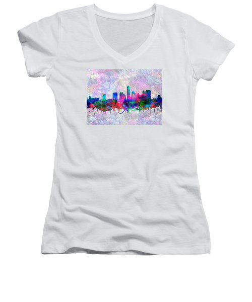 Austin Texas Skyline Watercolor 2 Women's V-Neck T-Shirt (Junior Cut) by Bekim Art