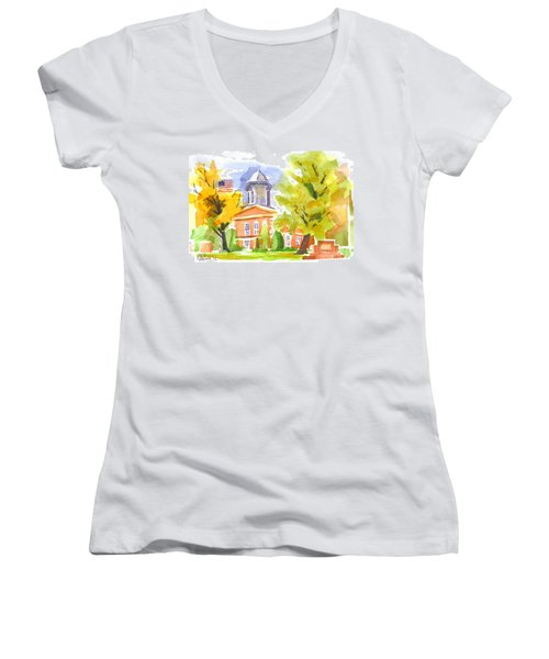 Autumn At The Courthouse Women's V-Neck