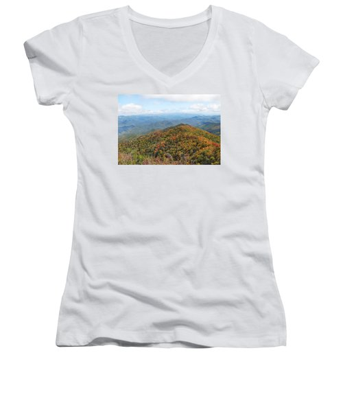 Autumn Great Smoky Mountains Women's V-Neck T-Shirt (Junior Cut) by Melinda Fawver