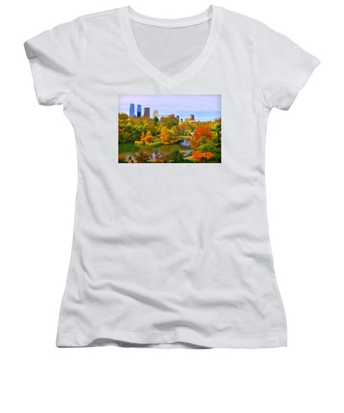 Autumn In Central Park 4 Women's V-Neck (Athletic Fit)