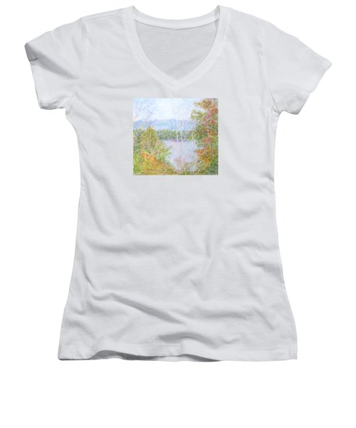 Autumn By The Lake In New Hampshire Women's V-Neck (Athletic Fit)