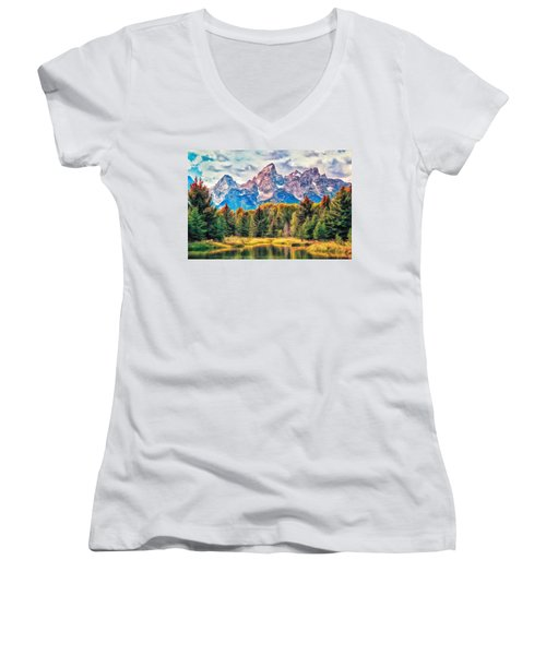 Autumn In The Tetons Women's V-Neck