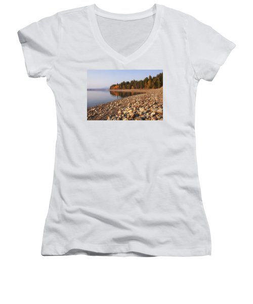 Women's V-Neck T-Shirt (Junior Cut) featuring the photograph Autumn Lake by Andrew Soundarajan