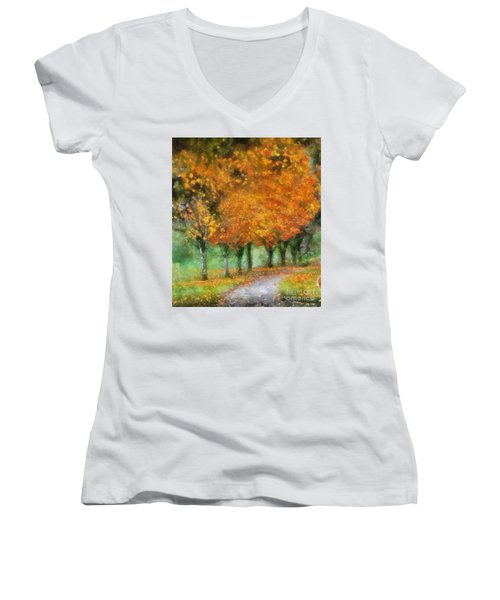 Autumn Trees Women's V-Neck T-Shirt