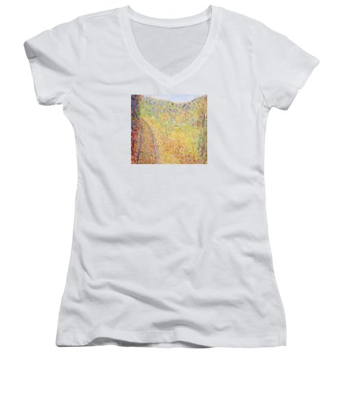 Autumns Maple Leaves And Train Tracks Women's V-Neck (Athletic Fit)