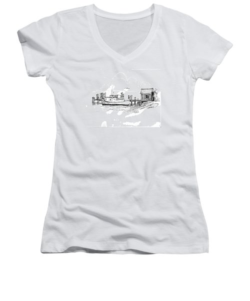 Awaiting Bluefish Run Ocracoke Nc 1970s Women's V-Neck
