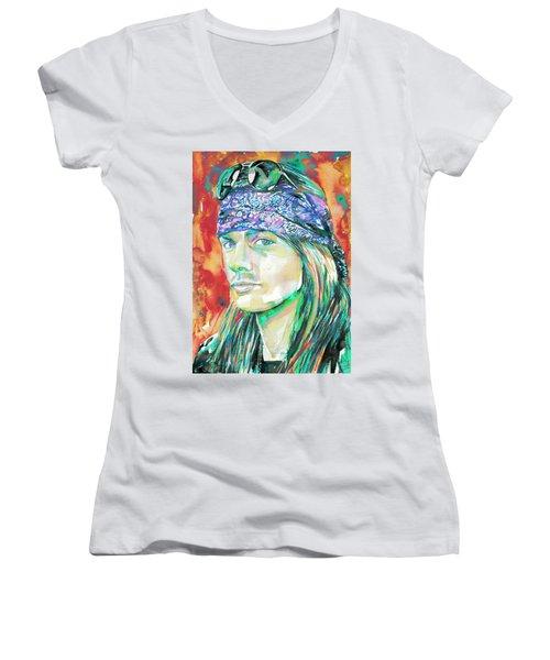 Axl Rose Portrait.2 Women's V-Neck T-Shirt