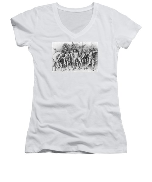 Bacchanal With Silenus - Albrecht Durer Women's V-Neck T-Shirt (Junior Cut) by Daniel Hagerman
