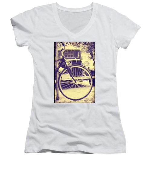 Back In Time Women's V-Neck T-Shirt (Junior Cut) by Erika Weber