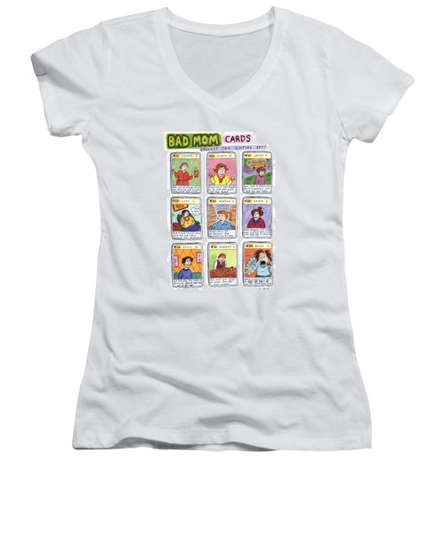 Bad Mom Cards Collect The Whole Set Women's V-Neck