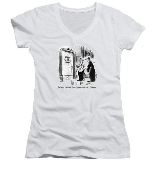 Bad News, I'm Afraid.  Little Orphan Annie Women's V-Neck T-Shirt