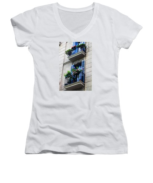 Balconies In Bloom Women's V-Neck T-Shirt (Junior Cut) by Menachem Ganon