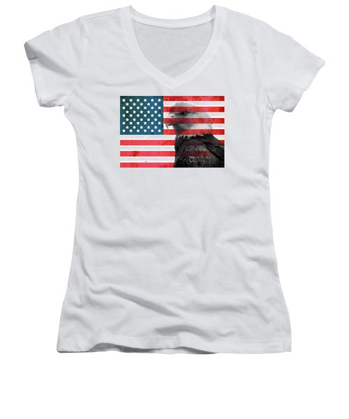 Women's V-Neck featuring the mixed media Bald Eagle American Flag by Dan Sproul