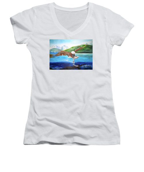 Bald Eagle Having Dinner Women's V-Neck