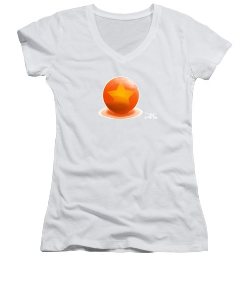 Women's V-Neck T-Shirt (Junior Cut) featuring the sculpture orange Ball decorated with star white background by R Muirhead Art