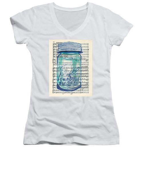 Women's V-Neck T-Shirt (Junior Cut) featuring the painting Ball Jar Classical  #132 by Ecinja Art Works