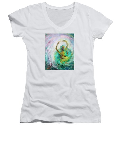 Women's V-Neck T-Shirt (Junior Cut) featuring the painting Ballerina by Xueling Zou