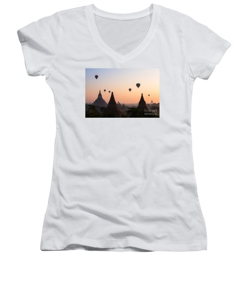 Ballons Over The Temples Of Bagan At Sunrise - Myanmar Women's V-Neck (Athletic Fit)