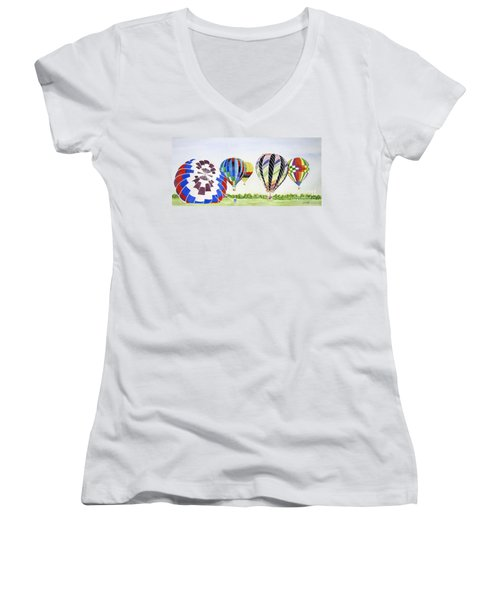 Women's V-Neck T-Shirt (Junior Cut) featuring the painting Balloons by Carol Flagg
