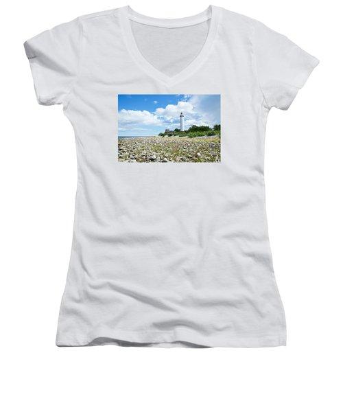 Baltic Sea Lighthouse Women's V-Neck T-Shirt (Junior Cut) by Kennerth and Birgitta Kullman