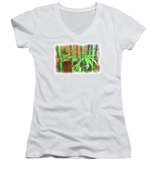 Women's V-Neck T-Shirt (Junior Cut) featuring the photograph Bamboo #1 by Luther Fine Art