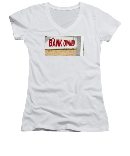 Bank Owned Real Estate Sign Women's V-Neck