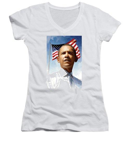 Barack Obama Artwork 1 Women's V-Neck T-Shirt