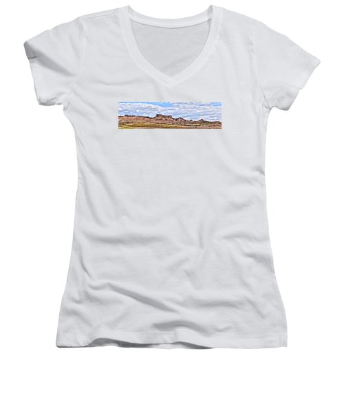 Bardenas Desert Panorama 1 Women's V-Neck T-Shirt