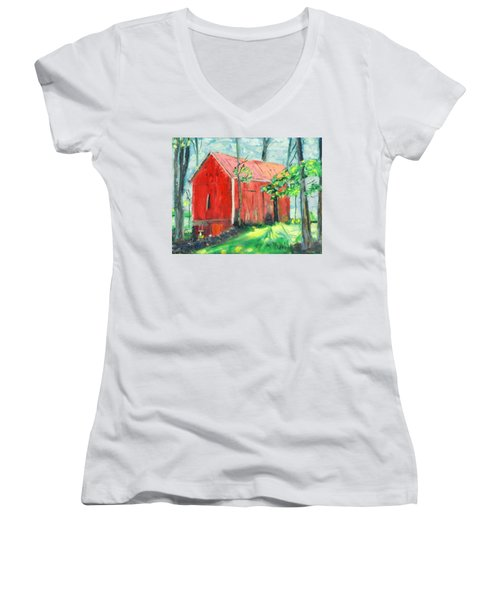 Barn At Walpack Women's V-Neck T-Shirt (Junior Cut) by Michael Daniels