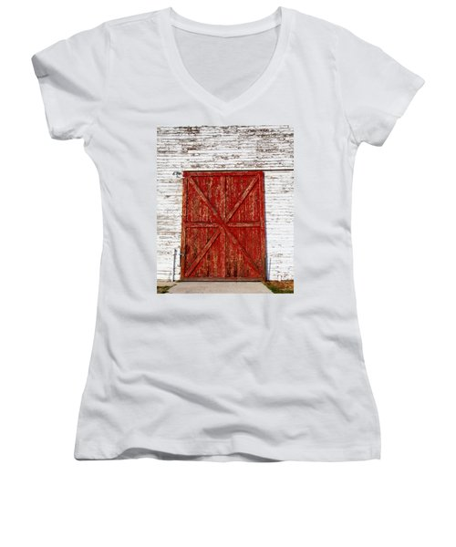 Barn Door Women's V-Neck T-Shirt (Junior Cut) by Fran Riley