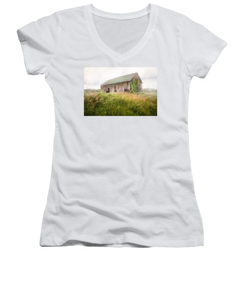 Women's V-Neck T-Shirt (Junior Cut) featuring the photograph Barn In A Misty Field by Gary Heller