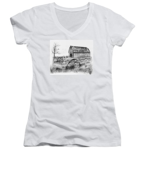 Barn With Crows Women's V-Neck T-Shirt (Junior Cut) by Lena Auxier