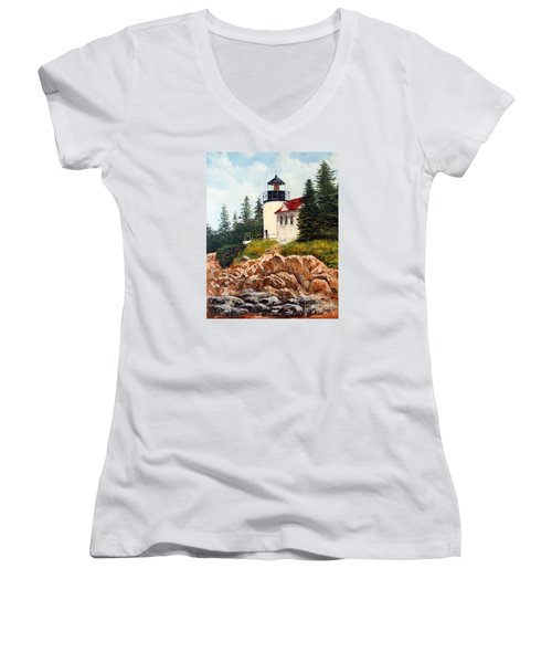Women's V-Neck T-Shirt (Junior Cut) featuring the painting Bass Harbor Head Light by Lee Piper