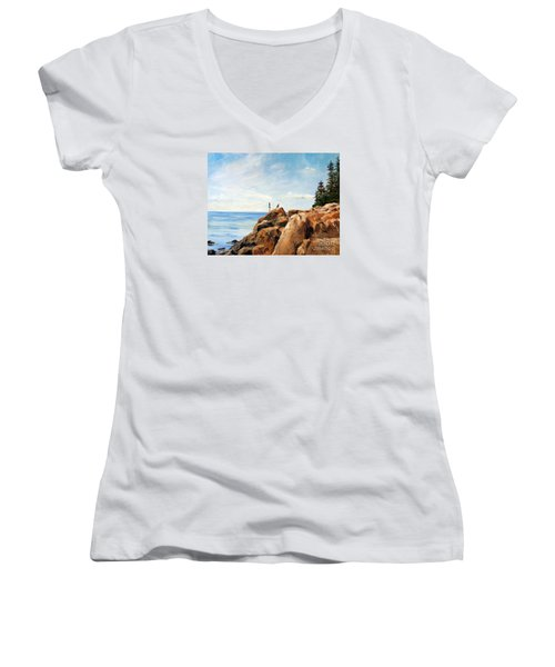 Women's V-Neck T-Shirt (Junior Cut) featuring the painting Bass Harbor Rocks by Lee Piper