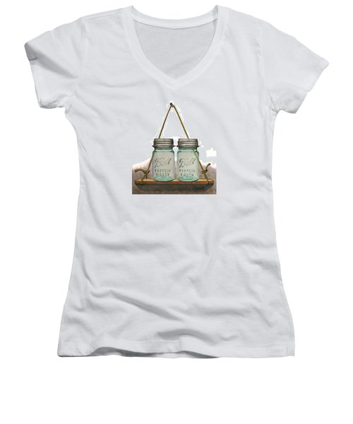 Women's V-Neck T-Shirt (Junior Cut) featuring the painting Balls To The Wall by Ferrel Cordle