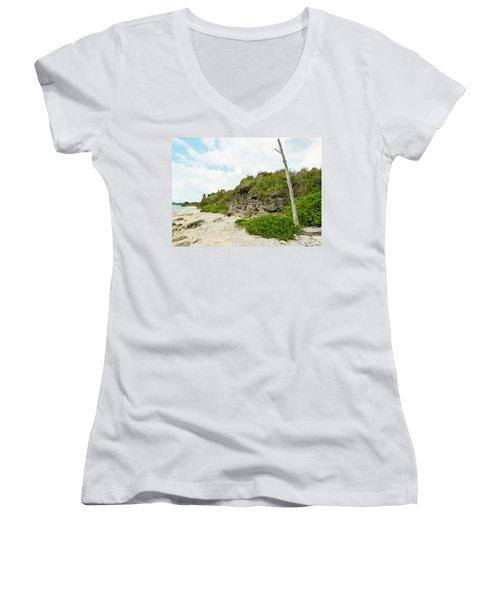 Women's V-Neck T-Shirt (Junior Cut) featuring the photograph Bat Cave by Amar Sheow