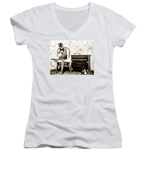 Women's V-Neck T-Shirt (Junior Cut) featuring the photograph Bath Time For Kitty Circa 1900 Historical Photos by California Views Mr Pat Hathaway Archives