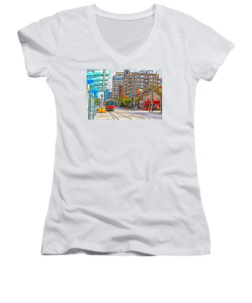Bathurst Street Car Coming North To Queen Street Women's V-Neck T-Shirt (Junior Cut) by Nina Silver