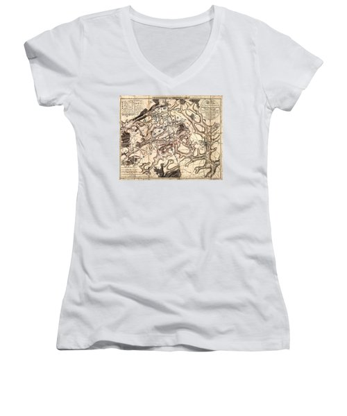 Battle Of Waterloo Old Map Women's V-Neck (Athletic Fit)