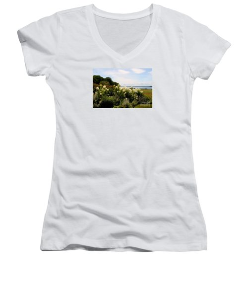 Bay View Bristol Rhode Island Women's V-Neck T-Shirt (Junior Cut) by Tom Prendergast