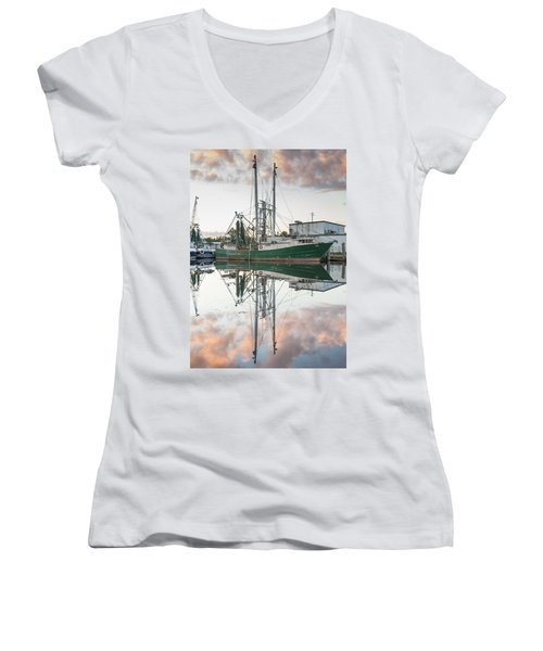 Bayou La Batre' Al Shrimp Boat Reflections 42 Women's V-Neck T-Shirt