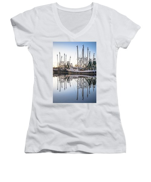 Bayou La Batre' Al Shrimp Boat Reflections 44 Women's V-Neck T-Shirt