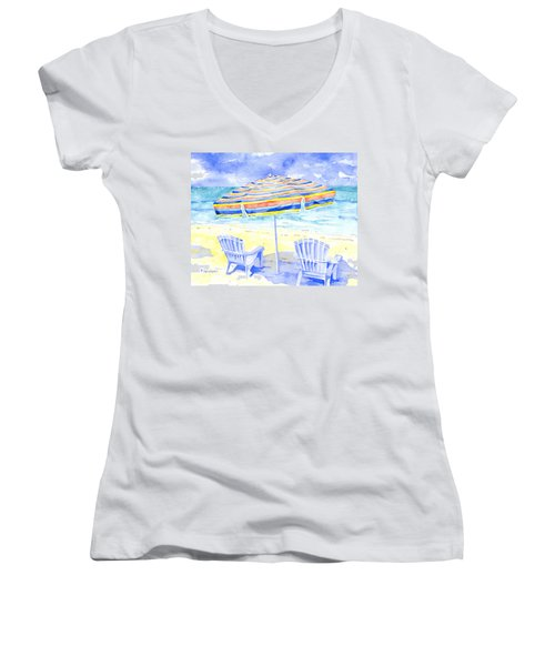 Beach Chairs Women's V-Neck (Athletic Fit)