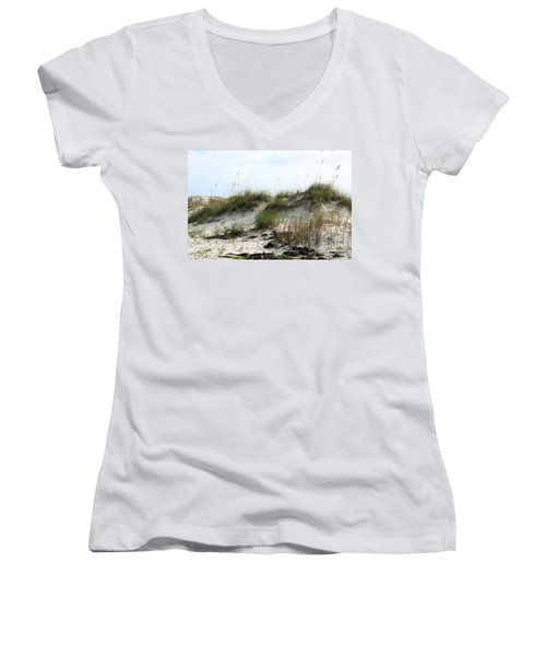 Women's V-Neck T-Shirt (Junior Cut) featuring the photograph Beach Dune by Chris Thomas