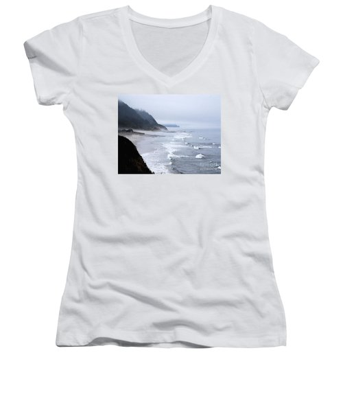 Beach Frontage In Monet Women's V-Neck T-Shirt