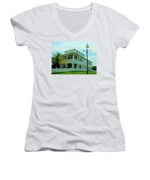 Beach House - Bay Saint Louis Mississippi Women's V-Neck T-Shirt (Junior Cut) by Deborah Lacoste