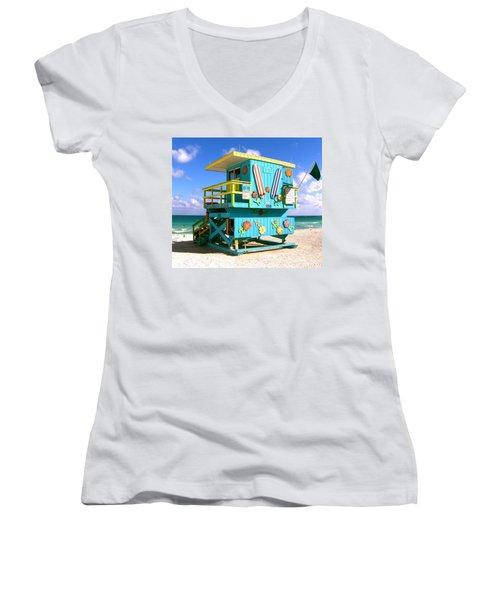 Beach Life In Miami Beach Women's V-Neck