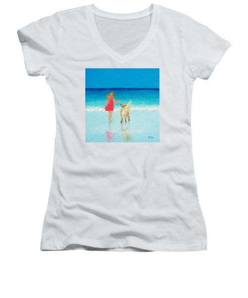 Beach Painting 'sunkissed Hair'  Women's V-Neck (Athletic Fit)
