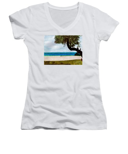 Women's V-Neck T-Shirt (Junior Cut) featuring the drawing Beach Side by D Hackett